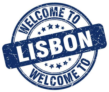lisbon: welcome to Lisbon blue round vintage stamp Illustration