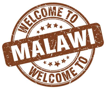 malawi: welcome to Malawi brown round vintage stamp Illustration
