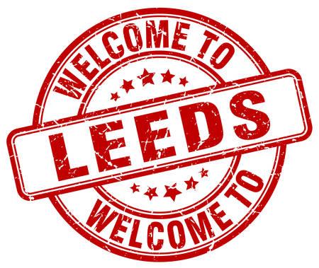 leeds: welcome to Leeds red round vintage stamp