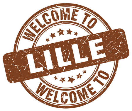 lille: welcome to Lille brown round vintage stamp Illustration