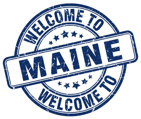 maine: welcome to Maine blue round vintage stamp Illustration