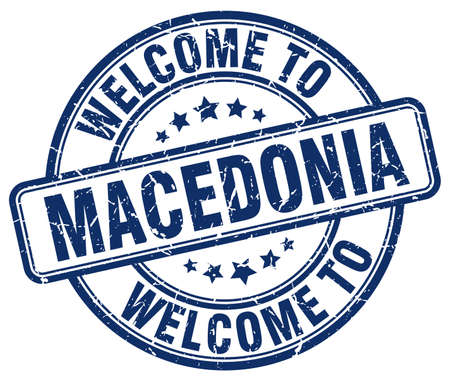 macedonia: welcome to Macedonia blue round vintage stamp Illustration