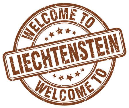 liechtenstein: welcome to Liechtenstein brown round vintage stamp Illustration