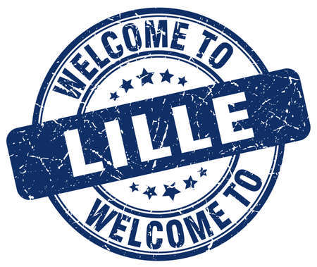 lille: welcome to Lille blue round vintage stamp