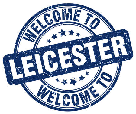 leicester: welcome to Leicester blue round vintage stamp Illustration