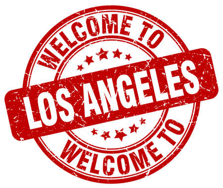 angeles: welcome to Los Angeles red round vintage stamp Illustration