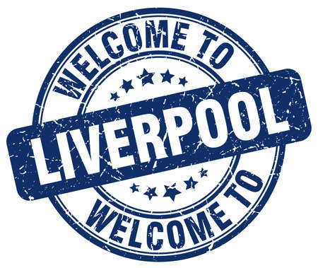 liverpool: welcome to Liverpool blue round vintage stamp