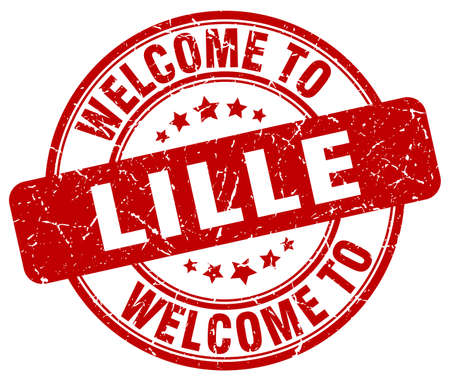 lille: welcome to Lille red round vintage stamp Illustration