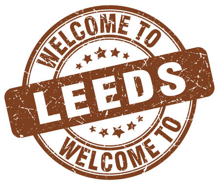 leeds: welcome to Leeds brown round vintage stamp