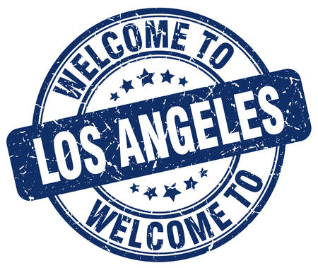 los angeles: welcome to Los Angeles blue round vintage stamp Illustration