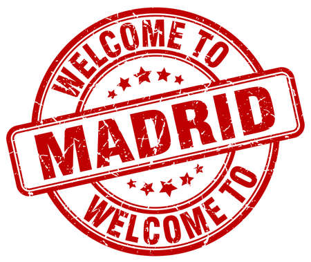 madrid: welcome to Madrid red round vintage stamp