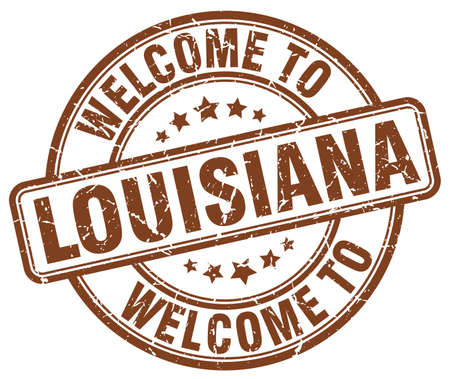 louisiana: welcome to Louisiana brown round vintage stamp Illustration