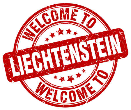 liechtenstein: welcome to Liechtenstein red round vintage stamp
