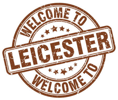 leicester: welcome to Leicester brown round vintage stamp Illustration