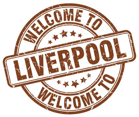 liverpool: welcome to Liverpool brown round vintage stamp