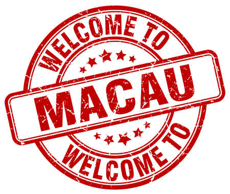macau: welcome to Macau red round vintage stamp Illustration