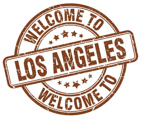 los: welcome to Los Angeles brown round vintage stamp