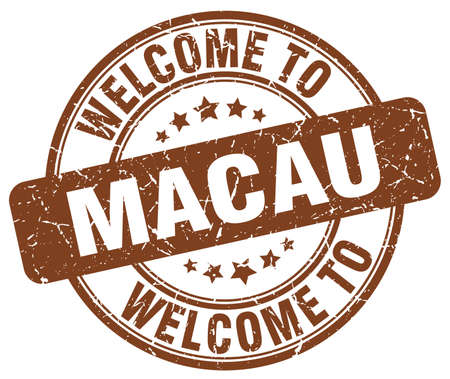 macau: welcome to Macau brown round vintage stamp