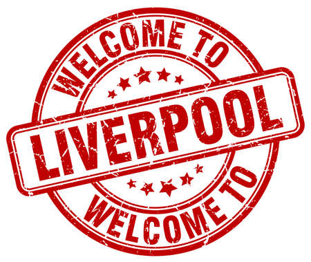 liverpool: welcome to Liverpool red round vintage stamp Illustration