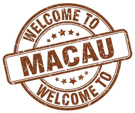 macau: welcome to Macau brown round vintage stamp