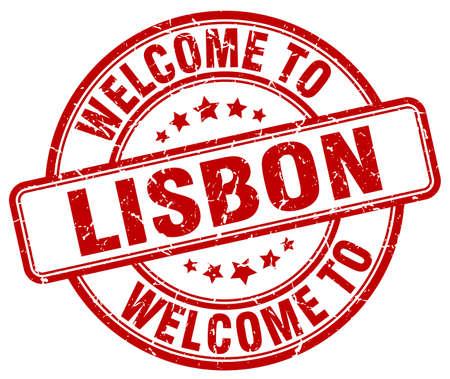 lisbon: welcome to Lisbon red round vintage stamp Illustration