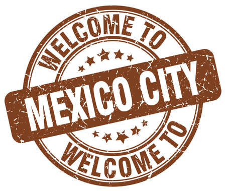mexico city: welcome to Mexico City brown round vintage stamp