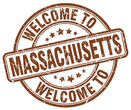 massachusetts: welcome to Massachusetts brown round vintage stamp Illustration