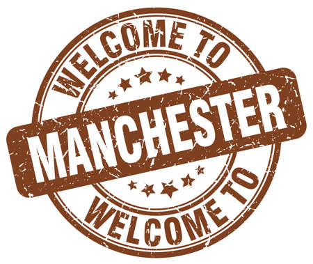 manchester: welcome to Manchester brown round vintage stamp