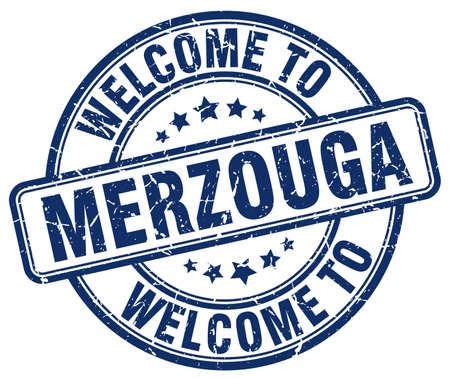 merzouga: welcome to Merzouga blue round vintage stamp