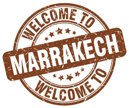 welcome to Marrakech brown round vintage stamp