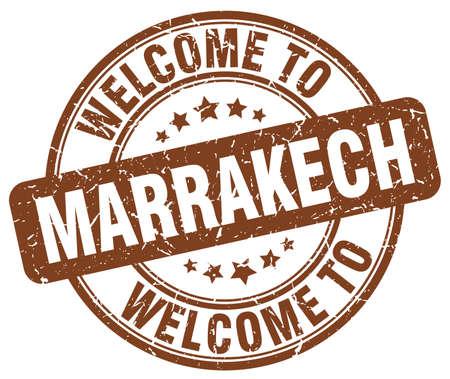 marrakech: welcome to Marrakech brown round vintage stamp