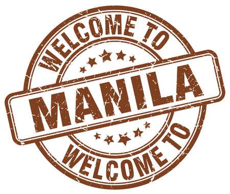manila: welcome to Manila brown round vintage stamp