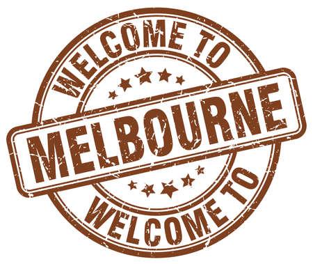 melbourne: welcome to Melbourne brown round vintage stamp Illustration