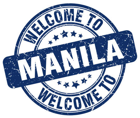 manila: welcome to Manila blue round vintage stamp