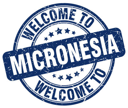 micronesia: welcome to Micronesia blue round vintage stamp Illustration