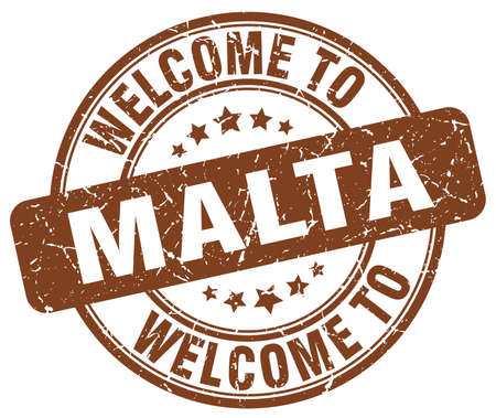 malta: welcome to Malta brown round vintage stamp