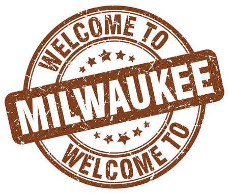 Milwaukee: welcome to Milwaukee brown round vintage stamp