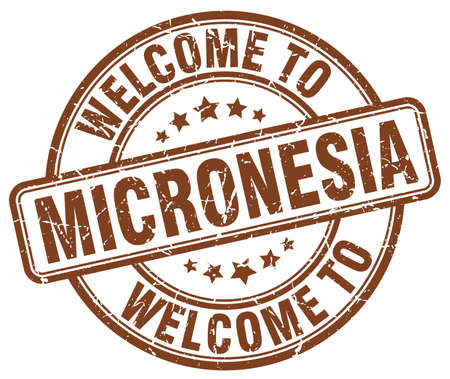 micronesia: welcome to Micronesia brown round vintage stamp