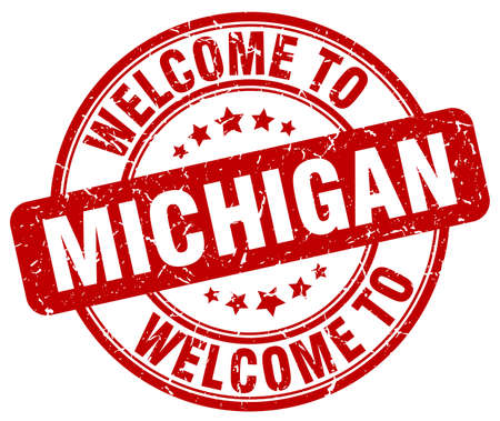 michigan: welcome to Michigan red round vintage stamp