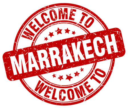 marrakech: welcome to Marrakech red round vintage stamp