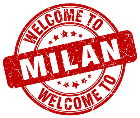 milan: welcome to Milan red round vintage stamp