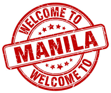 manila: welcome to Manila red round vintage stamp