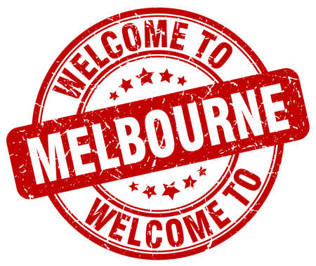 melbourne: welcome to Melbourne red round vintage stamp Illustration