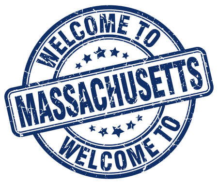 massachusetts: welcome to Massachusetts blue round vintage stamp
