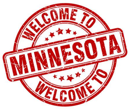 minnesota: welcome to Minnesota red round vintage stamp
