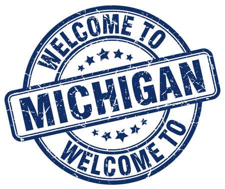 michigan: welcome to Michigan blue round vintage stamp