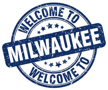 milwaukee: welcome to Milwaukee blue round vintage stamp Illustration