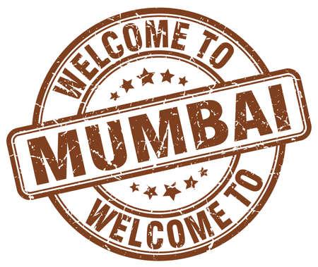 mumbai: welcome to Mumbai brown round vintage stamp