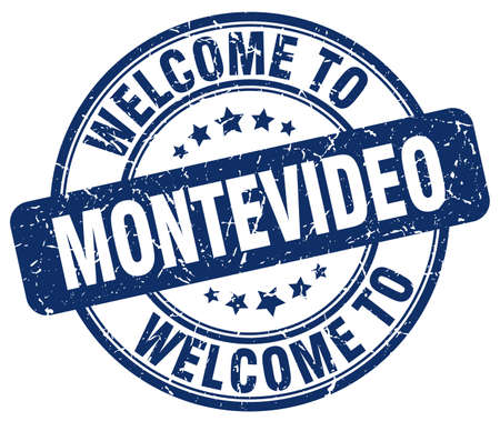 montevideo: welcome to Montevideo blue round vintage stamp