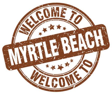 myrtle beach: welcome to Myrtle Beach brown round vintage stamp Illustration